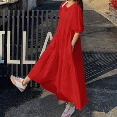品质款2021春季OL气质女装棉背带款短袖圆领A字裙连衣裙代理加盟
